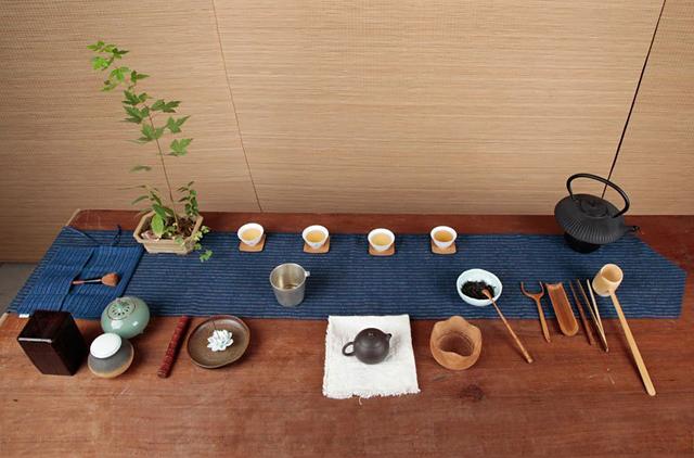 o2 氧气生活 海蓝色手织布茶席铺垫