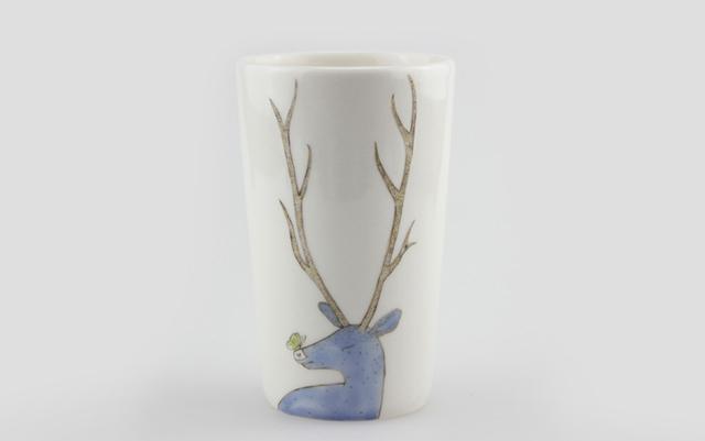 寻瓷记 张晓丽.鹿 手绘古彩创意马克杯