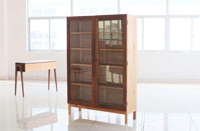 红橡木书柜储物柜黑胡桃木柜门原木书橱
